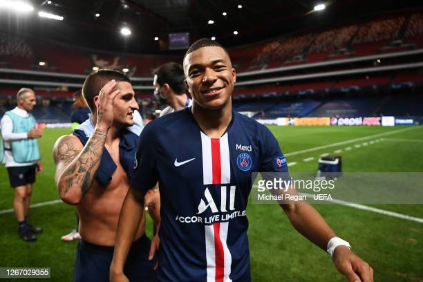 Kylian Mbappe of Paris Saint-Germain celebrates victory after the UEFA Champions League Semi Final match between RB Leipzig and Paris Saint-Germain...