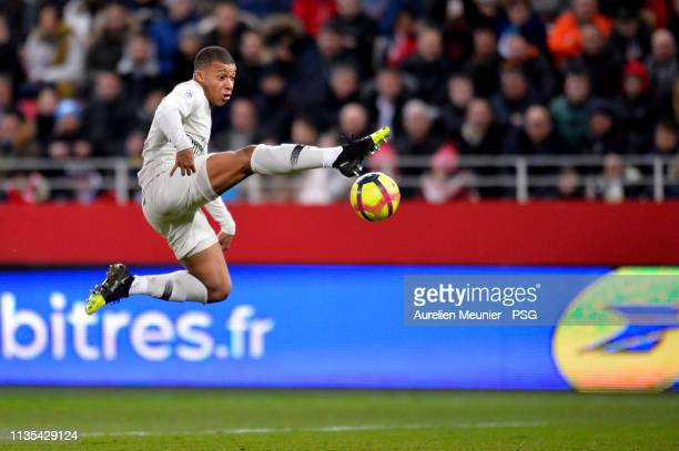 Kylian Mbappe of Paris SaintGermain controls the ball during the Ligue 1 match between Dijon and Paris Saint Germain at Stade Gaston Gerard on March...