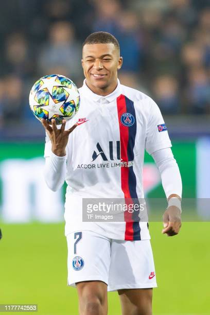 Kylian Mbappe of Paris Saint-Germain controls the ball during the UEFA Champions League group A match between Club Brugge KV and Paris Saint-Germain...