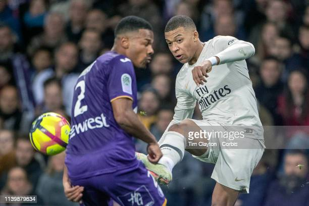 March 31: Kylian Mbappe of Paris Saint-Germain defended by Kelvin Amian of Toulouse during the Toulouse FC V Paris Saint-Germain, French Ligue 1...