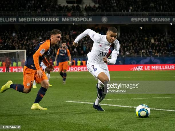 Kylian Mbappe of Paris SaintGermain during the Ligue 1 match between Montpellier HSC and Paris SaintGermain at Stade de la Mosson on December 07 2019...