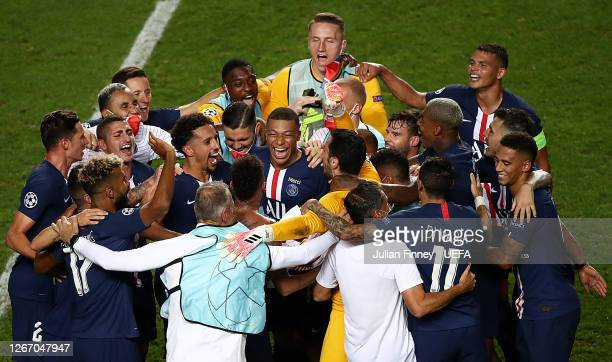 Kylian Mbappe of Paris Saint-Germain enjoys the celebrations at full time following the UEFA Champions League Semi Final match between RB Leipzig and...