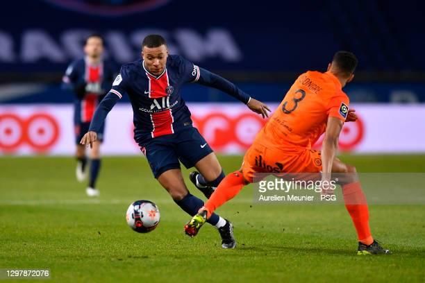 Kylian Mbappe of Paris Saint-Germain fights for the ball during the Ligue 1 match between Paris Saint-Germain and Montpellier HSC at Parc des Princes...