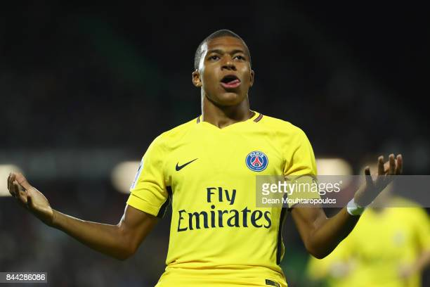 Kylian Mbappe of Paris SaintGermain Football Club or PSG celebrates scoring his teams second goal of the game during the Ligue 1 match between Metz...