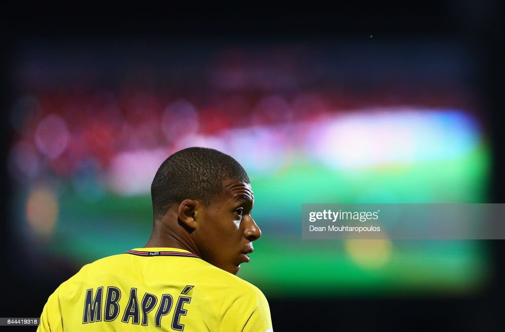 Kylian Mbappe of Paris Saint-Germain Football Club or PSG in action during the Ligue 1 match between Metz and Paris Saint Germain or PSG held at Stade Saint-Symphorien on September 8, 2017 in Metz, France.
