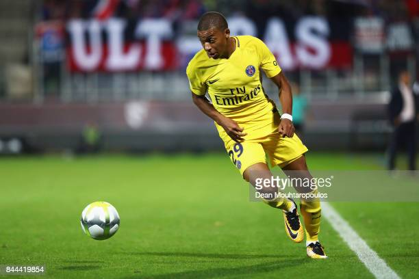 Kylian Mbappe of Paris SaintGermain Football Club or PSG in action during the Ligue 1 match between Metz and Paris Saint Germain or PSG held at Stade...