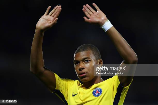 Kylian Mbappe of Paris SaintGermain Football Club or PSG waves to the fans as he celebrates after victory in the Ligue 1 match between Metz and Paris...