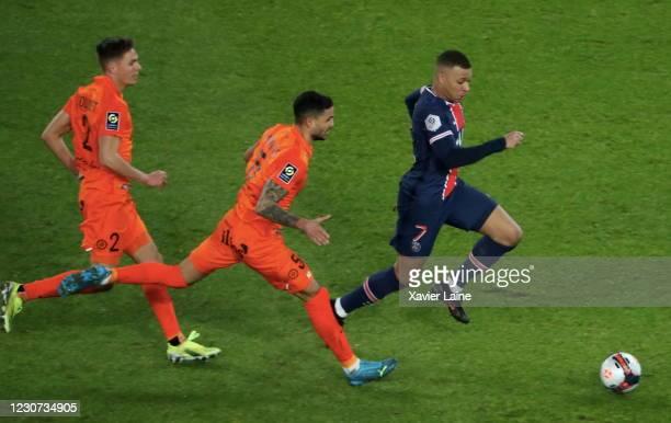 Kylian Mbappe of Paris Saint-Germain in action during the Ligue 1 match between Paris Saint-Germain and Montpellier HSC at Parc des Princes on...