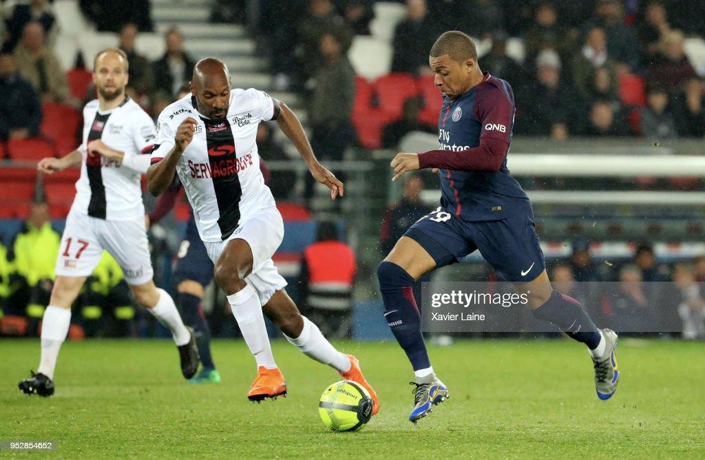 Kylian Mbappe of Paris Saint-Germain in action during the Ligue 1 match between Paris Saint Germain and EA Guingamp at Parc des Princes on April 29, 2018 in Paris.