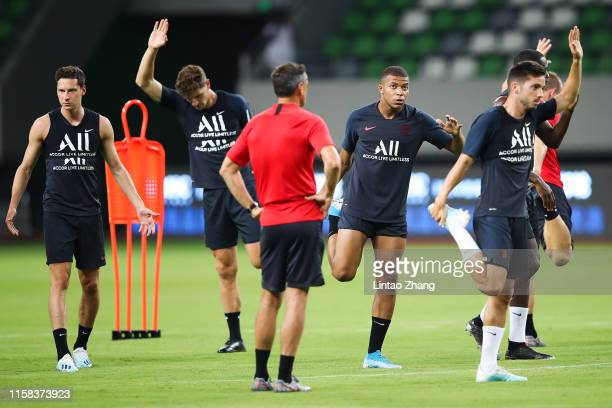 Kylian Mbappe of Paris SaintGermain in action during the training session at Suzhou Olympic Sports Center Stadium one day before their match against...