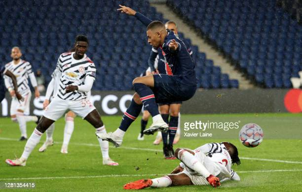 Kylian Mbappe of Paris SaintGermain in action during the UEFA Champions League Group H stage match between Paris SaintGermain and Manchester United...