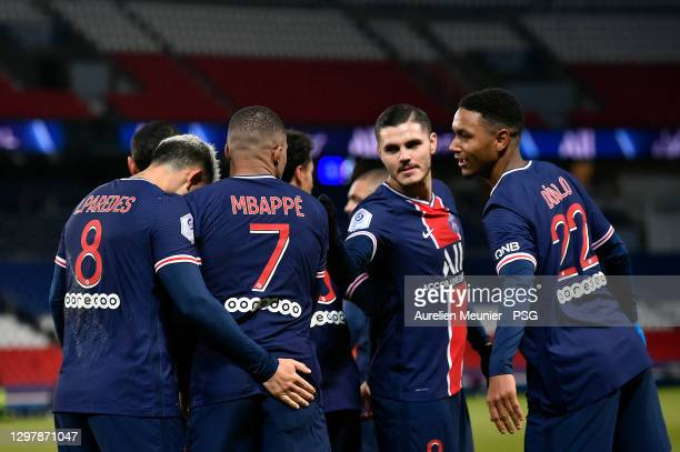 Kylian Mbappe of Paris Saint-Germain is congratulated by teammates Leandro Paredes, Mauro Icardi and Abdou Diallo after scoring during the Ligue 1...