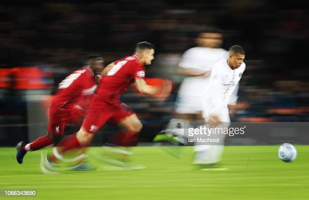 Kylian Mbappe of Paris SaintGermain is seen in action during the Group C match of the UEFA Champions League between Paris SaintGermain and Liverpool...