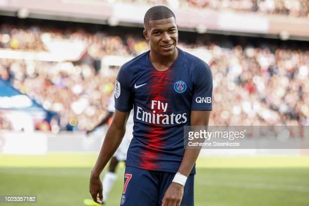 Kylian Mbappe of Paris SaintGermain looks on during the Ligue 1 Conforama game between Paris SaintGermain and Angers SCO at Parc des Princes on...