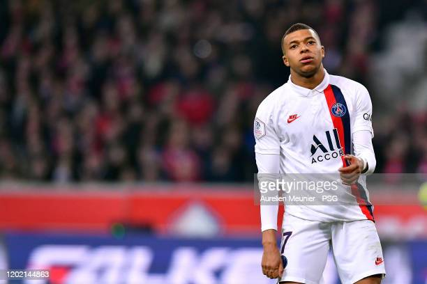 Kylian Mbappe of Paris Saint-Germain looks on during the Ligue 1 match between Lille OSC and Paris Saint-Germain at Stade Pierre Mauroy on January...