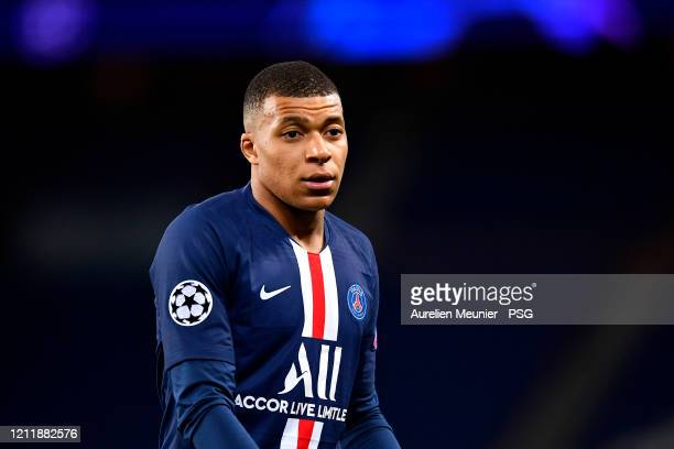 Kylian Mbappe of Paris Saint-Germain looks on during the UEFA Champions League round of 16 second leg match between Paris Saint-Germain and Borussia...