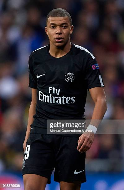 Kylian Mbappe of Paris SaintGermain looks on during the UEFA Champions League Round of 16 First Leg match between Real Madrid and Paris SaintGermain...