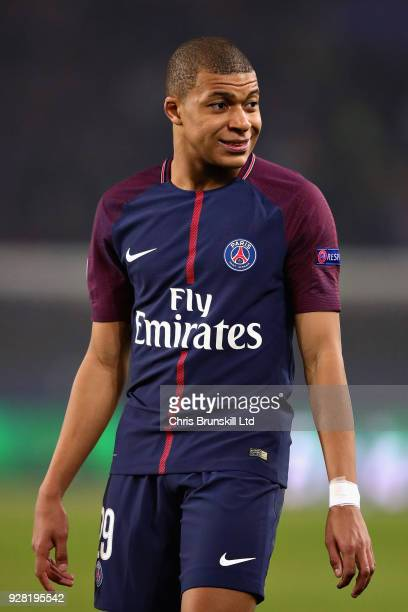 Kylian Mbappe of Paris SaintGermain looks on during the UEFA Champions League Round of 16 Second Leg match between Paris SaintGermain and Real Madrid...