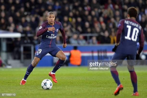 Kylian Mbappe of Paris SaintGermain passes the ball during the UEFA Champions League group B match between Paris SaintGermain and Celtic Glasgow at...