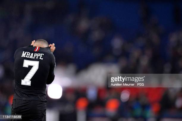 Kylian Mbappe of Paris SaintGermain reacts after loosing 13 against Manchester United during the UEFA Champions League Round of 16 Second Leg match...