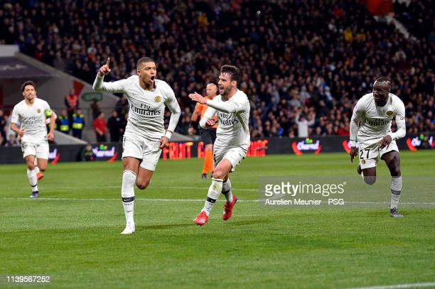 Kylian Mbappe of Paris SaintGermain reacts after scoring during the Ligue 1 match between Paris SaintGermain and Toulouse FC on March 31 2019 in...