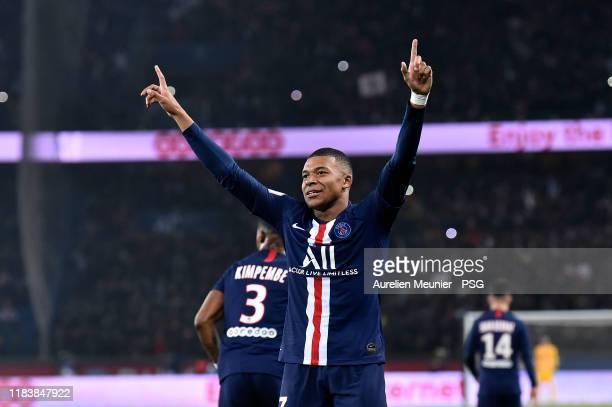 Kylian Mbappe of Paris Saint-Germain reacts after scoring during the Ligue 1 match between Paris Saint-Germain and Olympique Marseille at Parc des...