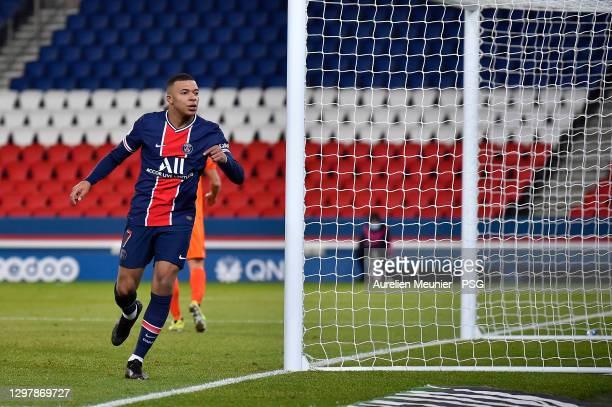 Kylian Mbappe of Paris Saint-Germain reacts after scoring during the Ligue 1 match between Paris Saint-Germain and Montpellier HSC at Parc des...