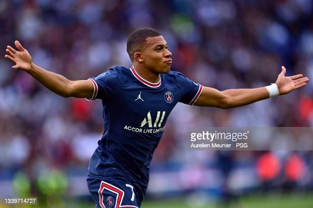 Kylian Mbappe of Paris Saint-Germain reacts after scoring during the Ligue 1 Uber Eats match between Paris Saint Germain and Clermont Foot at Parc...