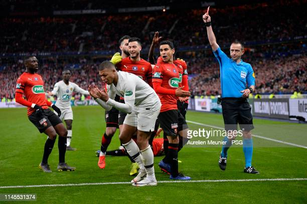 Kylian Mbappe of Paris Saint-Germain reacts as he receives a red card during the French Cup Final match between Paris Saint-Germain and Stade Rennais...