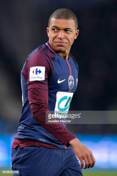 Kylian Mbappe of Paris SaintGermain reacts during the French Cup match between Paris SaintGermain and Olympique de Marseille at Parc des Princes on...