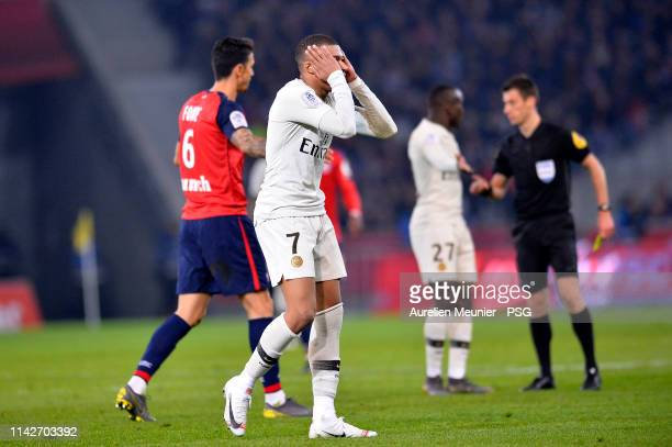 Kylian Mbappe of Paris SaintGermain reacts during the Ligue 1 match between Paris SaintGermain and Lille OSC at Stade Pierre Mauroy on April 14 2019...