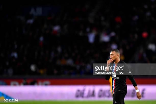 Kylian Mbappe of Paris Saint-Germain reacts during the Ligue 1 match between Paris Saint-Germain and Montpellier HSC at Parc des Princes on February...