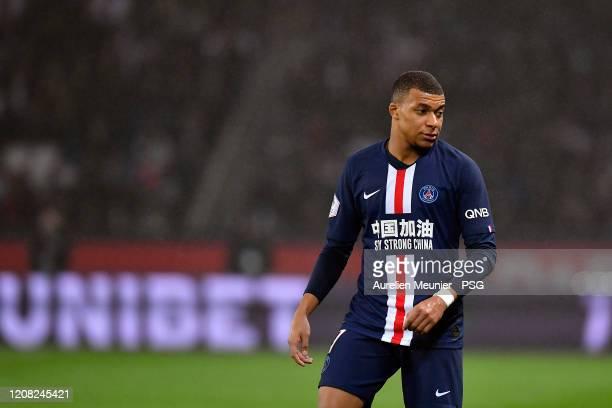 Kylian Mbappe of Paris Saint-Germain reacts during the Ligue 1 match between Paris Saint-Germain and Girondins Bordeaux at Parc des Princes on...