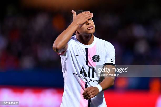 Kylian Mbappe of Paris Saint-Germain reacts during the Ligue 1 football match between Troyes and Paris at Stade de l'Aube on August 07, 2021 in...