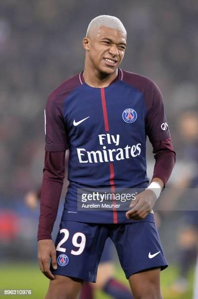 Kylian Mbappe of Paris SaintGermain reacts during the Ligue 1 match between Paris Saint Germain and SM Caen at Parc des Princes on December 20 2017...