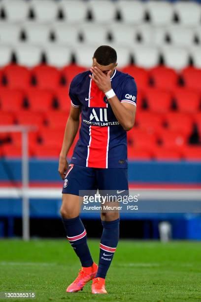 Kylian Mbappe of Paris Saint-Germain reacts during the Ligue 1 soccer match between Paris Saint-Germain and AS Monaco at Parc des Princes on February...