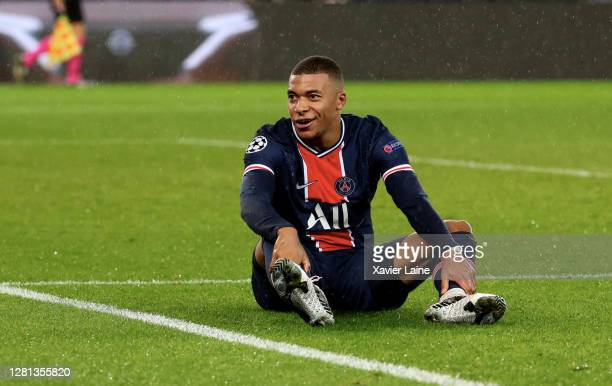 Kylian Mbappe of Paris SaintGermain reacts during the UEFA Champions League Group H stage match between Paris SaintGermain and Manchester United at...