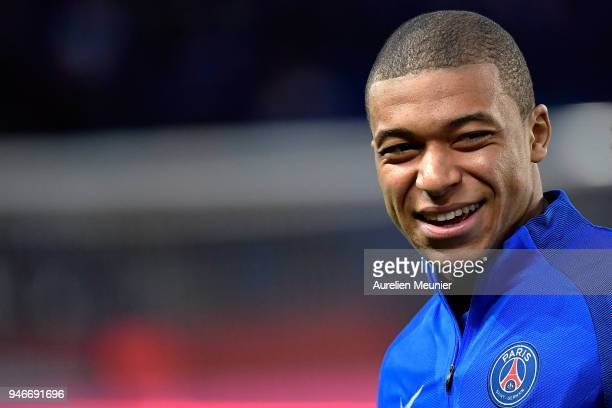 Kylian Mbappe of Paris SaintGermain reacts during warmup before the Ligue 1 match between Paris Saint Germain and AS Monaco at Parc des Princes on...