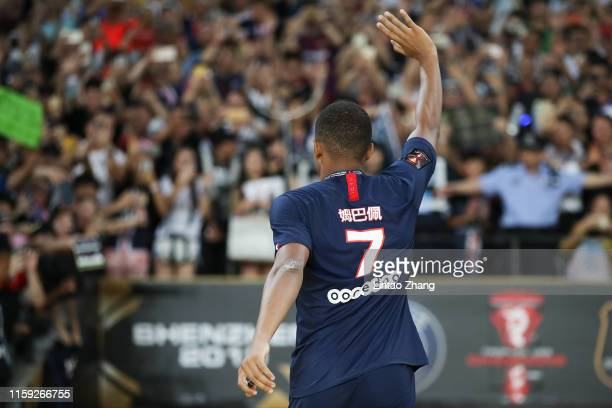Kylian Mbappe of Paris SaintGermain saying goodbye to the fans during the 2019 Trophee des Champions between Paris saintGermain and Stade Rennais FC...