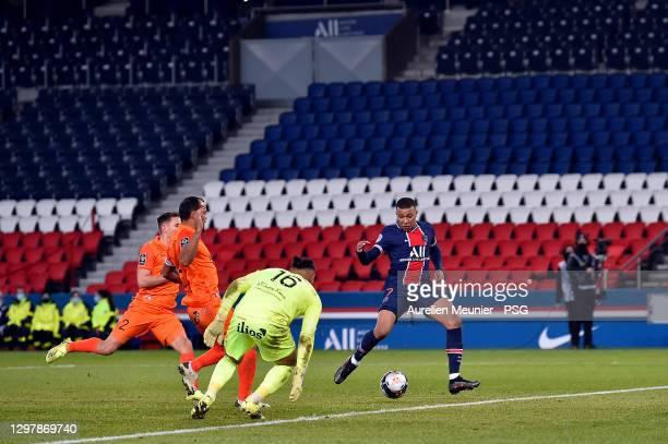 Kylian Mbappe of Paris Saint-Germain scores during the Ligue 1 match between Paris Saint-Germain and Montpellier HSC at Parc des Princes on January...