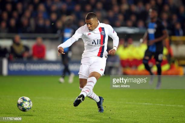 Kylian Mbappe of Paris Saint-Germain scores his hat trick goal during the UEFA Champions League group A match between Club Brugge KV and Paris...