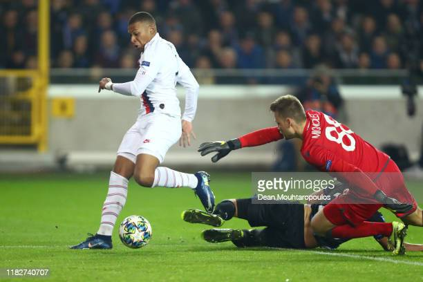 Kylian Mbappe of Paris SaintGermain scores his team's fourth goal during the UEFA Champions League group A match between Club Brugge KV and Paris...