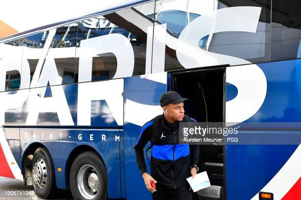 Kylian Mbappe of Paris SaintGermain walks out of the bus as the team arrive to Dijon for the French Cup match between Dijon and Paris at Stade Gaston...