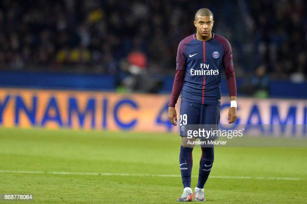 Kylian Mbappe of ParisGermain reacts during the UEFA Champions League group B match between Paris SaintGermain and RSC Anderlecht at Parc des Princes...