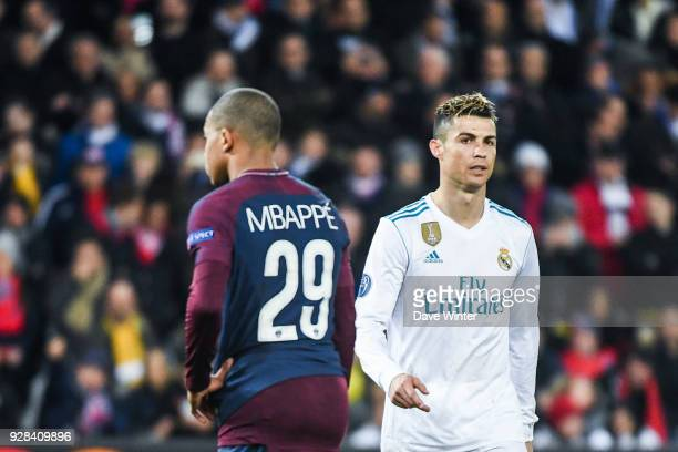 Kylian Mbappe of PSG and Cristiano Ronaldo of Real Madrid during the UEFA Champions League Round of 16 Second Leg match between Paris Saint Germain...