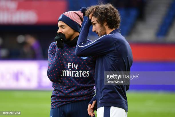 Kylian Mbappe of PSG and former teammate Yacine Adli of Bordeaux before the Ligue 1 match between Paris Saint Germain and Bordeaux at Parc des...