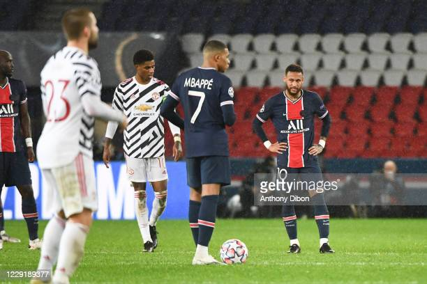 Kylian MBAPPE of PSG and NEYMAR JR of PSG dejected during the UEFA Champions League match between Paris Saint Germain and Manchester United at Parc...