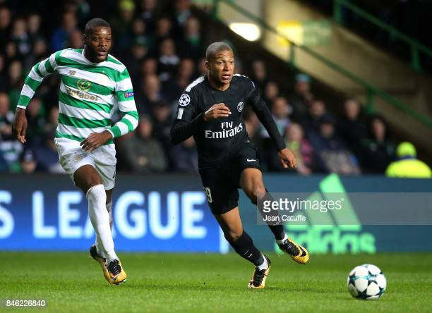 Kylian Mbappe of PSG and Olivier Ntcham of Celtic Glasgow during the UEFA Champions League match between Celtic Glasgow and Paris Saint Germain at...