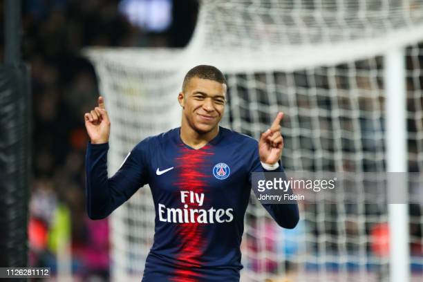 Kylian Mbappe of PSG celebrate his goal during the Ligue 1 match between Paris Saint Germain and Montpellier at Parc des Princes on February 20 2019...