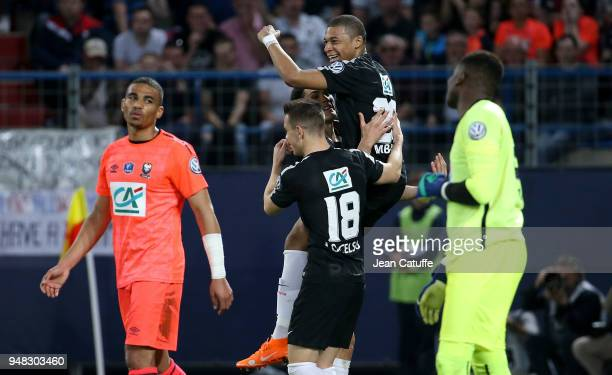 Kylian Mbappe of PSG celebrates his first goal during the French Cup semifinal between Stade Malherbe de Caen and Paris Saint Germain at Stade Michel...
